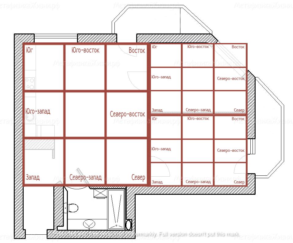 Наложение сетки на план комнаты
